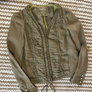 Anthropologie Hei Hei Linen Jacket Sz 10 green